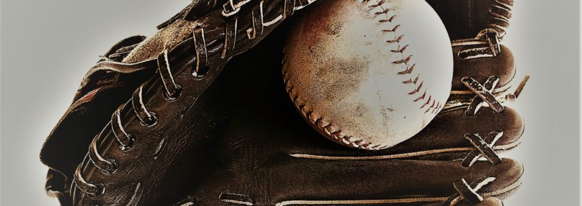 Softball and glove